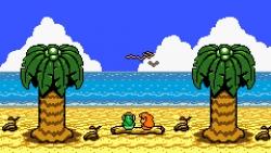 The Legend of Zelda: Link's Awakening till Game Boy. Link och Marin blickar ut över havet. Ön de sitter på är dock blott en dröm