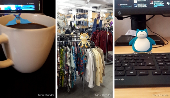 Zubats i kaffet och Meowth på Beyond Retro. Sedan uppenbarade sig min kronjuvel Snorlax, mitt på tangentbordet!